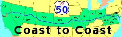 To COAST On US A Journey Across America On Route Also - Map of us rt 50